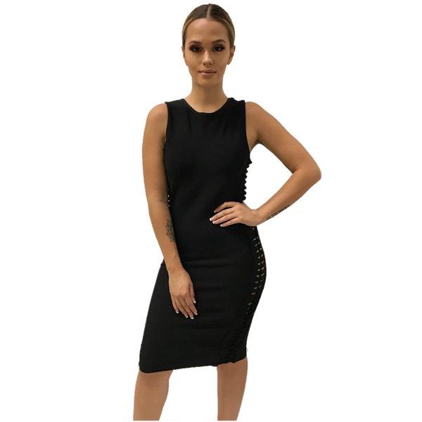 Kara Open Side Black Bandage Dress