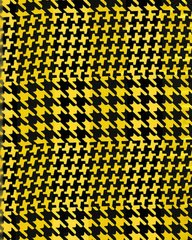 Houndstooth Satin Stripe Scarf (Yellow / Black)