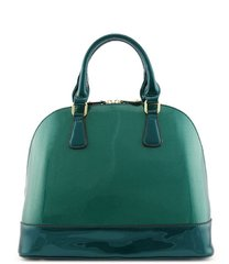 Green Patent Leather Dome Satchel