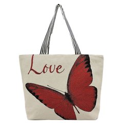 Women's Butterfly Canvas Beach Tote