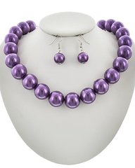 Synthetic Pearl Ball Necklace Set