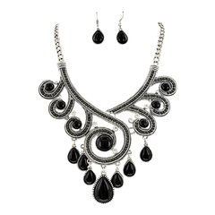 Antique Silver and Black Acrylic Filigree Teardrop Statement Necklace