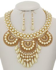 Cream Synthetic Pearl and Clear Rhinestone Necklace