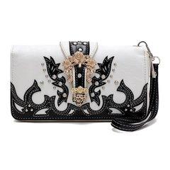 Western Buckle Style Zip Around Wallet