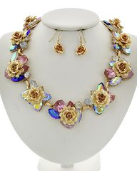 Pink and Multicolored Acrylic Flower Necklace Set
