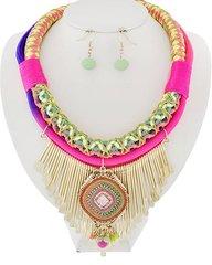 Multicolored Neon Cord Necklace Set