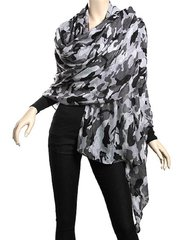 Trendy Grey Woven Camouflage Scarf