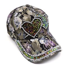 Two Hearts Floral Printed Studded Fashion Cap