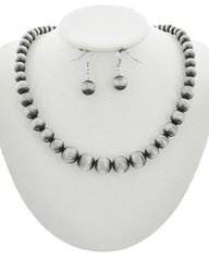 Burnished Silver Ccb Bead Necklace Set