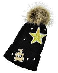 Black Knit Star and Bottle Pom Pom Hat