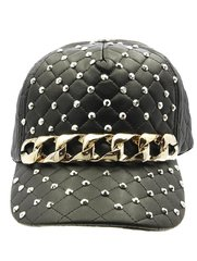 Metallic Studded Gold Chain Hat