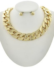 Women's Gold Tone Metal Chain Necklace Set