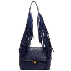 Navy Blue Fringe Strap Shoulder Bag