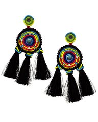 Black Thread & Multi Color Acrylic Seed Bead Dangle Earring Set
