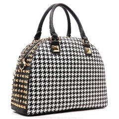 Houndstooth Studded Dome Satchel