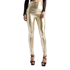 Gold High Waist Faux Leather Leggings