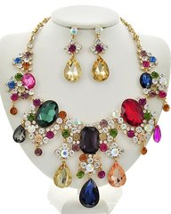 Women's Multi Color Acrylic & Glass Rhinestone Necklace Set