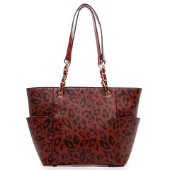Red Texture Leopard Print Tote