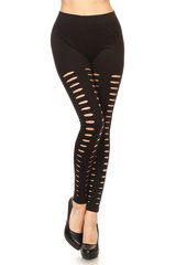 Women's Black Super Soft Slashed Leggings