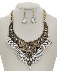 Antique GoldTone Rhinestone Chandelier Necklace Set