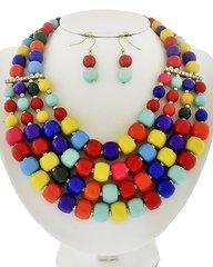 Multicolor Acrylic and Rhinestone Multi Row Necklace Set