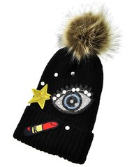 Black Knit and Clear Rhinestone Lipstick Pom Pom Hat