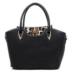 Women's 2 in 1 Pebble Texture Satchel and Twist Lock Leopard Cross Body Bag