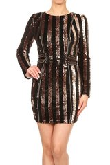 Sequin Striped Long Sleeve Mini Dress with Grommet Tie Up Waist