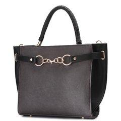 Faux Leather Black Fashion Satchel