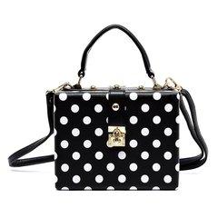 Black and White Polka Dot Box Satchel