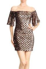 Rose gold Off The Shoulder Sequins Mini Dress