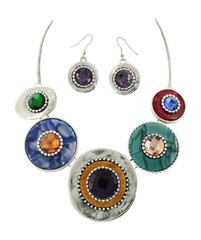 Multicolored Acrylic & Glass Statement Necklace & Earring Set