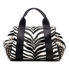 Zebra Rhinestone Studded Satchel