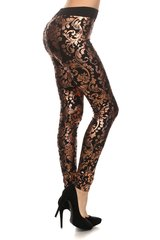 Women's Copper Foil Floral Metallic Print Fleece Lined Leggings