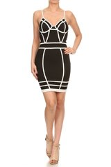 Black and White Sleeveless Corset Style Mini Dress
