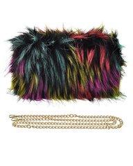 Women's Beautiful Multicolored Faux Fur Clutch
