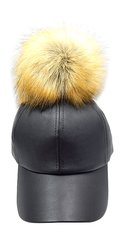 Black Leather Big Pom Pom Baseball Hat