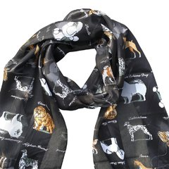 Dog Design Satin Stripe Scarf