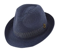 Men's Navy Blue Patterned Anchor Fedora