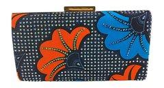 Handmade Rhinestone Ankara Print Clutch Bag, CHIOMA