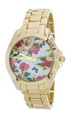 Floral Print Crystal Fashion Watch, White