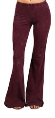 Women's Burgundy Mineral Washed Bell Bottom Pants
