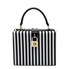 Black and White Faux Leather Stripe Box Satchel