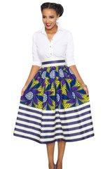 Vintage High Waisted Flare Stripe A-Line Midi Skirt
