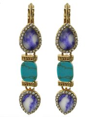 White, Blue and Turquoise Stone Dangle Earring