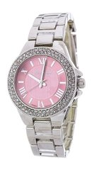 Crystal Bezel Pink and Rhodium Fashion Watch