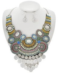 Multicolored Seed Bead Necklace Set