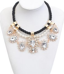 Rope Chain Rhinestone and Pearl Necklace