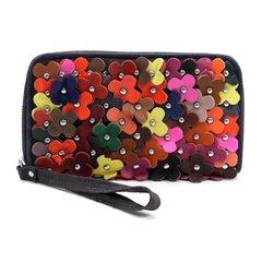 Genuine Leather Flower Clutch Wallet