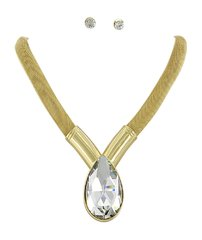 Gold Tone Clear Glass Pendant Necklace Set